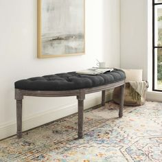 Embellish a beautiful and elegant appearance to your home with the addition of this MODWAY Esteem Vintage French Upholstered Fabric Semi-Circle Bench in Gray. Wood Storage Bench, Upholstered Storage Bench, French Bench, Accent Bench, Bent Wood, Modern Bench, Living Room Seating, Weathered Wood, Grey Fabric