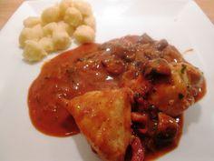 Kyllingegryde med Bacon i Tomatflødesauce