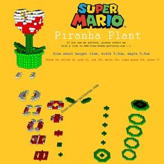 3D perler beads tutorial pattern Piranha Plant from Super Mario