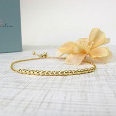 Gold Bead Bolo Bracelet