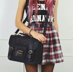 Plaid flannel mini skirt