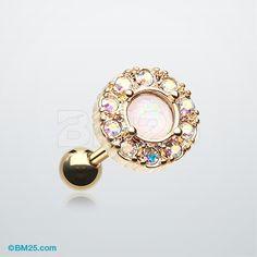 Golden Opal Elegance Cartilage Tragus Earring