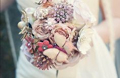 beautiful silk flower and enamel brooch bouquet