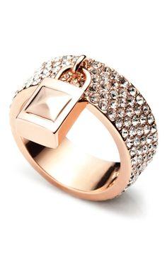 Pavé Padlock Ring on ModaOperandi.com