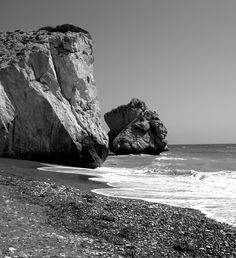 Cyprus - Petra tou Romiou, a rock off the shore along the main road from Paphos to Limassol, has been regarded since ancient times as the birthplace of Aphrodite, goddes of love and fertility.