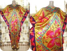 Vintage 70s OpArt Butterfly Print Caftan Dashiki by IntrigueU4Ever, $42.00