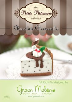 Felt food craft kit Chocolate Cheesecake by GreenMelonCreations