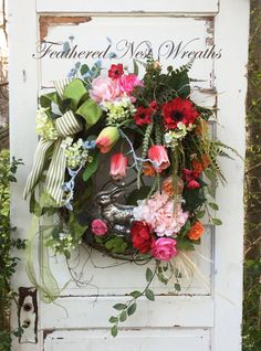 Easter Door Wreath Easter Door Decor by FeatheredNestWreaths