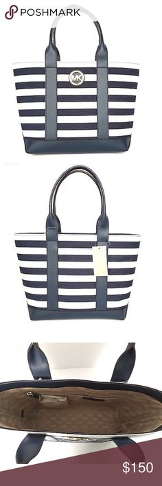Michael Kors Nautical Stripped Tote This gorgeous purse is NWT. The navy blue against the white is a great contrast Michael Kors Bags Totes
