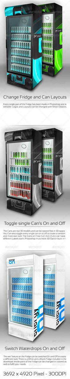 XL Fridge Mockup with Energy Drink Soda Cans