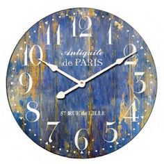 Blue Distressed Clock - Rodworks #rodworks #homedecor #clock