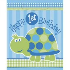 1st Birthday Turtle Party Bags - Pack of 8 | - kids-partyshop.co.uk