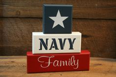 Items similar to NAVY Family Military Blocks Shelf Sitter Decor on Etsy