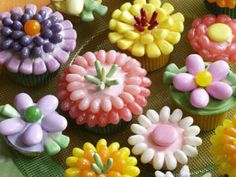 Decorate cupcakes with jelly beans and make a flower garden