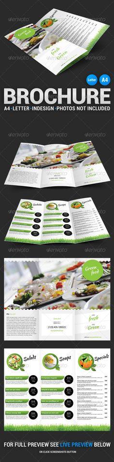 Green Food Tri-Fold Brochure #template #print