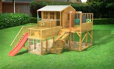 kangaroo cottage, wooden cubby house, cubby house, Firefox Playground Cubby Hous… - All For Backyard Ideas Kids Backyard Playground, Backyard Playset, Backyard For Kids, Outdoor Playset, Kids Outdoor Play, Outdoor Toys, Cubby Houses, Play Houses, Cubbies