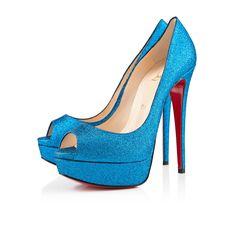 Louboutin, LADY PEEP GLITTER MINI 150 mm, Glitter, Saphir Blue, Women Shoes