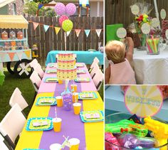 Candy cart, games and fun table at carnival bday party