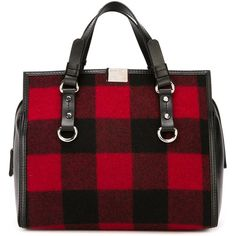 Dsquared2 gingham check tote ($1,055) ❤ liked on Polyvore featuring bags, handbags, tote bags, red, zip top tote bag, zip top tote, dsquared2, red purse and red tote