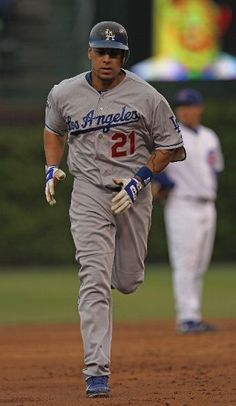Juan Rivera runs the bases after his two run home run against the Cubs on May 6, 2012.