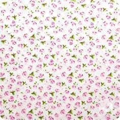 Tecido Calico Rosa Floral Fundo Branco