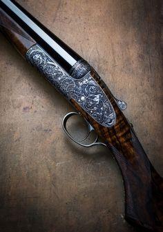 "woodburning: ""Westley Richards Round Action, single trigger sidelocks engraved by Paul Lantuch "" Gun Art, Double Barrel, Metal Engraving, Hunting Rifles, Cool Guns, Guns And Ammo, Firearms, Shotguns, Hand Guns"