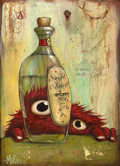 Mateo Dineen - Monster With Bottle Art And Illustration, Monster Illustration, Little Monsters, Cute Monsters, Fantasy Character, Character Design, Fantasy Kunst, Fantasy Art, Monster Art