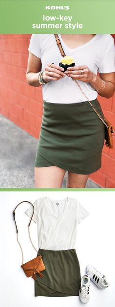 Two pieces are better than one. Pair a classic V-neck tee with a tulip-hem skirt in olive for casual summer days. Just add your favorite adidas sneakers and a crossbody bag for an effortless look. Update your style at Kohl's with trendy skirts, T-shirts, bags and shoes. #whattowear #summerstyle