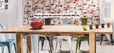 Scaune de masă, colorate, potrivite pentru zona de dining și bucătărie  #scaunedemasametal Dining, Metal, Table, Furniture, Home Decor, Food, Decoration Home, Room Decor, Tables