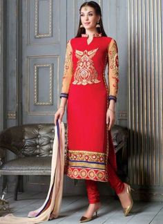 Staring Red Georgette Party Wear Casual Churidar Suit  #Suits #Anarkali #Salwar   http://www.angelnx.com/Salwar-Kameez