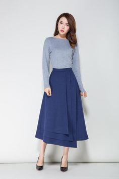 Custom made Blue skirt wool skirt winter skirt tiered Blue Skirt Outfits, Winter Rock, Handmade Skirts, Spring Skirts, Tiered Skirts, Spring Outfits Women, Winter Skirt, Clothing Size Chart, Wool Skirts