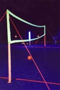 glow in the dark volleyball. What a fun idea. Do a search on GLOW IN THE DARK PAINT to learn to make it.