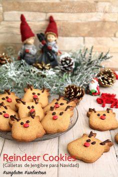 Reindeer Cookies (Galletas de Jengibre para Navidad) #singluten #sinlactosa #proceli ¿Queréis hacer galletas esta Navidad con vuestros peques? Estos renos seguro que os darán mucho juego en la cocina con los peques de la casa. Son muy fáciles de hacer y fáciles de decorar!! ¿Os animáis?