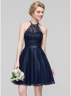 A-Line/Princess Scoop Neck Knee-Length Tulle Cocktail Dress With Beading Sequins