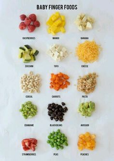 a great visual list of finger foods for babies, great as a quick resource for meals on the fly