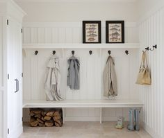 vestibule - update to make into a mudroom function - add coat rack, retile, and create cubbies for additional storage