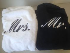 Set of 2 Monogrammed Robes Plush Bathrobe - Monogrammed His and Hers Robes, Mr. Robes, His and Hers Sets Bridal Robes, Bridal Gifts, Dinner Wear, Couple Room, Tuxedo Dress, Font Styles, Mr Mrs, Spa Day, To My Future Husband
