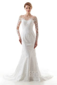 Luxurious Trumpet-Mermaid Off The Shoulder Natural Sweep-Brush Train Lace  and Tulle Ivory Long Sleeve Zipper With Buttons Wedding Dress with  Appliques and ... deef55aa522c