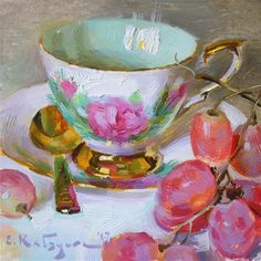 """Daily Paintworks - """"Prelude Teacup and Grapes"""" - Original Fine Art for Sale - © Elena Katsyura"""