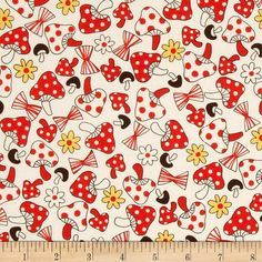 Mushroom World Mushroom Toss Cream from @fabricdotcom  This cotton print fabric is perfect for quilting, apparel and home decor accents. Colors include red, white, chocolate, and yellow.