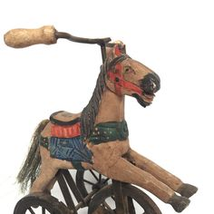 Folk Art, Wooden Hand Carved Horse Tricycle