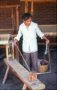 Wool Spinning Oaxaca  A weaver from the Zapotec town of Teotitlan del Valle Oaxaca spins wool to make yarn to weave a rug