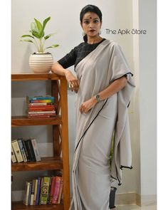 Check out this collection of best formal office wear sarees collection online from the brand The Apik store. Stylish Dress Designs, Stylish Blouse Design, Saree Wearing Styles, Saree Styles, Formal Saree, Casual Saree, Saree Blouse Patterns, Sari Blouse Designs, Cotton Saree Designs