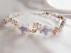 Lavender Floral Crystal Bridal Headband Lavender by LysaCreation, $225.00