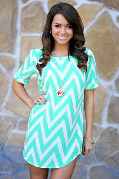 Sweet As Candy Chevron Dress: Cockatoo