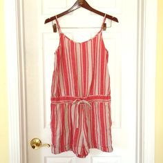 LOFT Romper Fun striped romper for the summertime. Easy to throw on, cute button on the side of the shorts and pockets! Brand new, never worn. LOFT Dresses