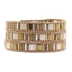 Chan Luu - Gold Mix Triple Wrap Bracelet on Henna Leather, $115.00 (http://www.chanluu.com/wrap-bracelets/gold-mix-triple-wrap-bracelet-on-henna-leather/)