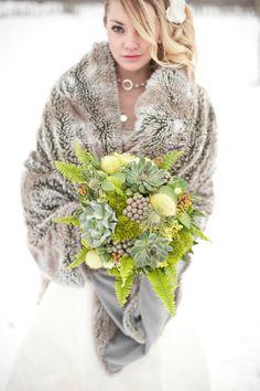 winter-bride  photo by Jesse Hisco Photography   #winterwedding #winterweddingbouquet #mountainwedding