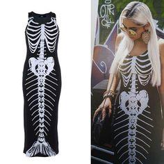 Bone Deep Skele Mermaid Maxi Dress by Iron Fist