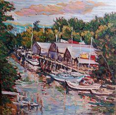 Original Oil Painting Summer Harbor 20x20 by JennyYaoCanvas